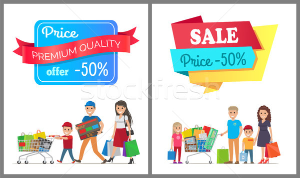 Sale Price 50 off Promo Label People on Banner Stock photo © robuart