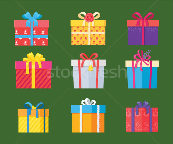 Set of Parcel Package Icons in Decorative Wrapping Stock photo © robuart