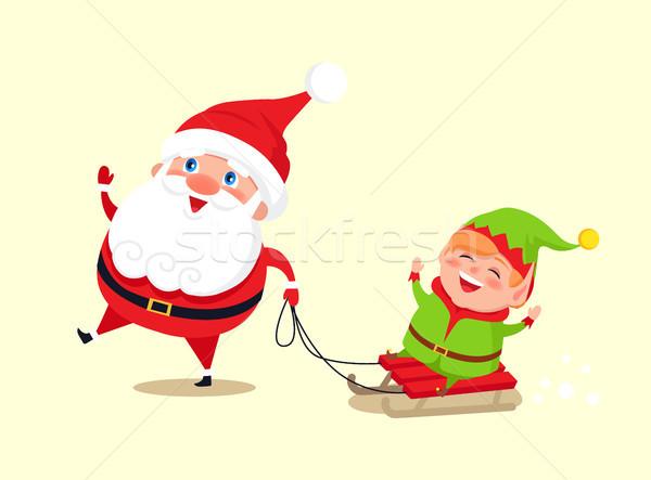 Święty mikołaj elf sanki ikona odizolowany biały Zdjęcia stock © robuart