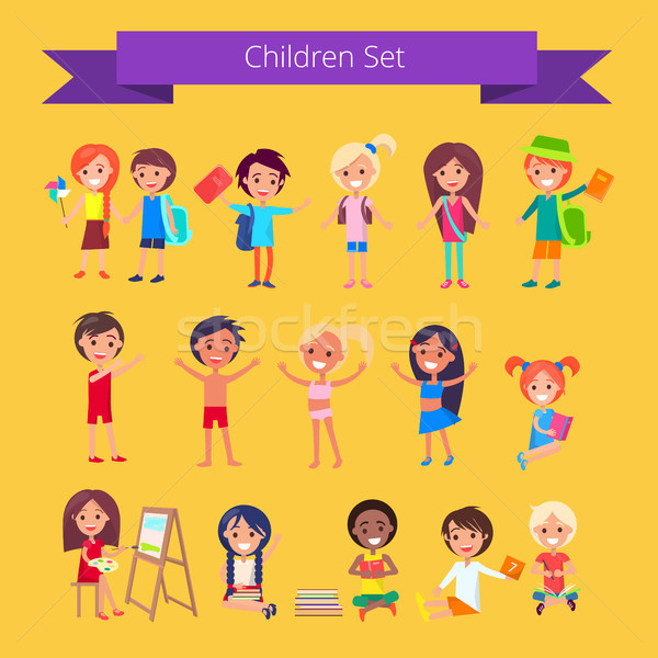 Children Set Isolated Illustration on Light Orange Stock photo © robuart