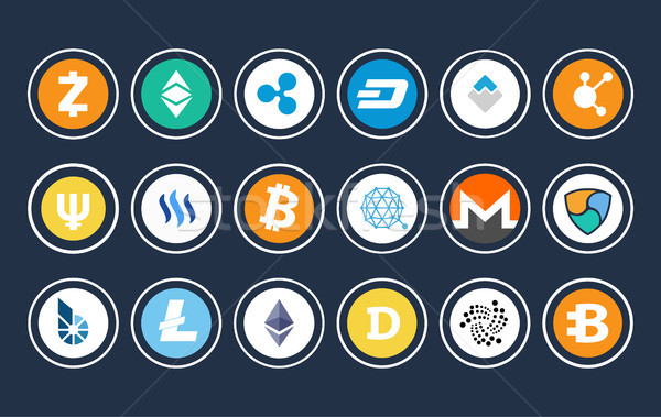 Cryptocurrency Icon Collection Vector Illustration Stock photo © robuart