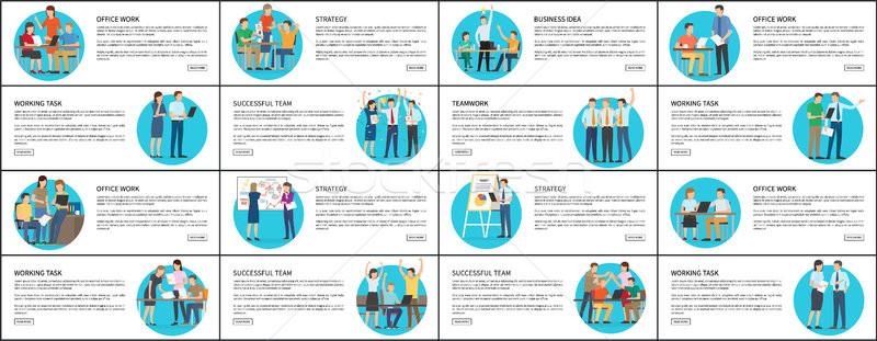 Sok stratégia irodai munka sikeres csapat plakátok Stock fotó © robuart