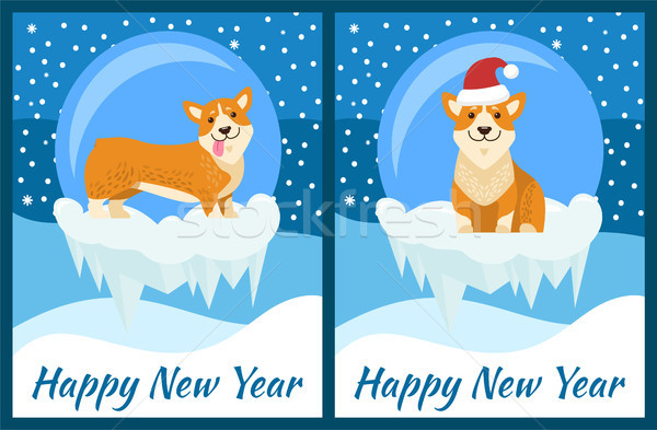 Boldog új évet gratuláció játszik kék hóesés aranyos Stock fotó © robuart