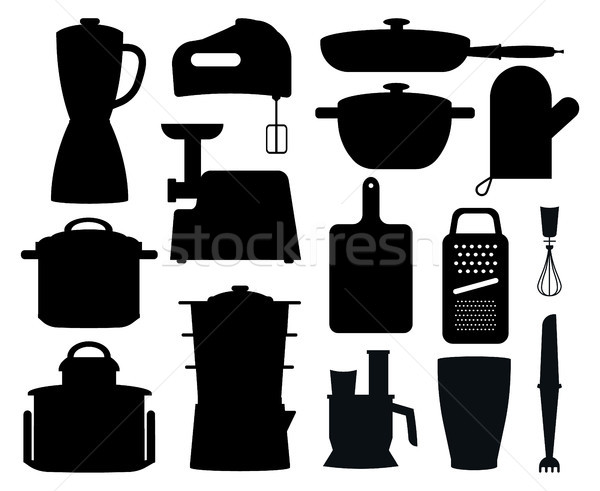 Set of Black Silhouettes of Kitchen Instruments Stock photo © robuart