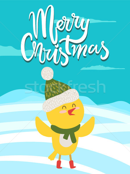 Merry Christmas Greeting Card with Yellow Chicken Stock photo © robuart