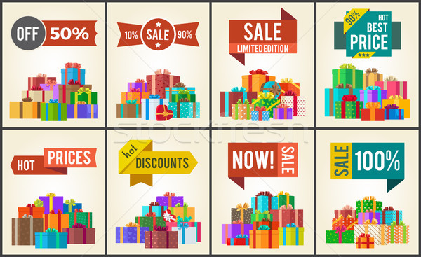 Set of Promo Posters Advertisement Stickers Info Stock photo © robuart