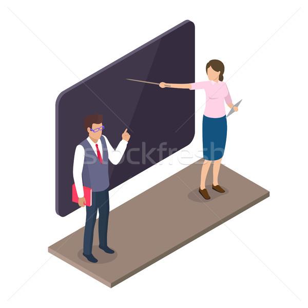 Teachers Standing Near Blackboard on Lesson 3D Stock photo © robuart