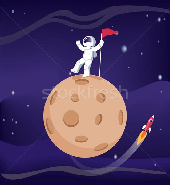 Astronauta cartaz bandeira pólo foguete Foto stock © robuart
