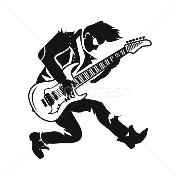 Gitáros játszik visel bőrdzseki előad különböző Stock fotó © robuart