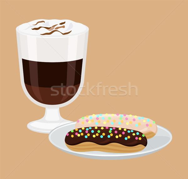 ホットドリンク ケーキ ポスター 泡 皿 甘い ストックフォト © robuart