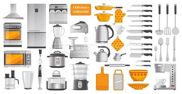 Set of Different Kitchen Tools Vector Illustration Stock photo © robuart