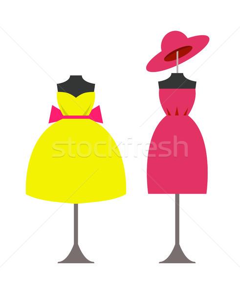 Moderne modieus jurken hoed Geel toga Stockfoto © robuart