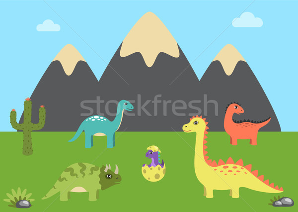 Prehistoric Animals and Nature Vector Illustration Stock photo © robuart