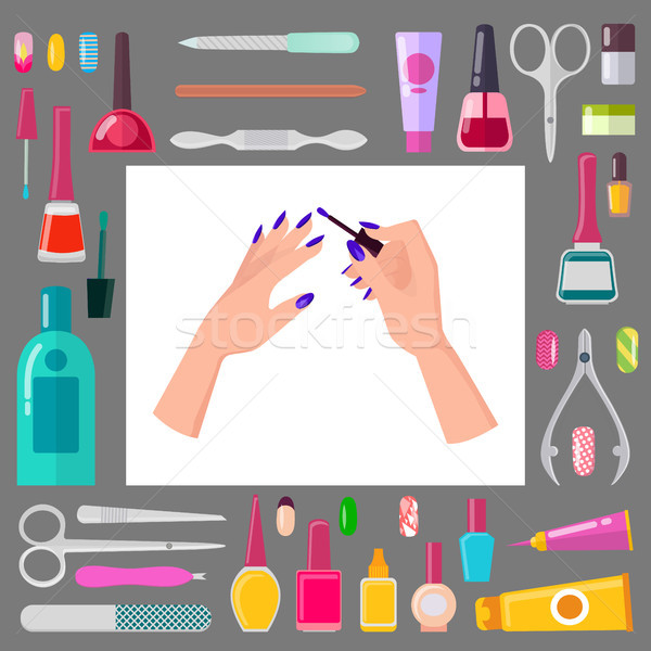 Vrouwelijke handen manicure scherp tools ingesteld Stockfoto © robuart
