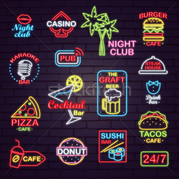 Neon Street Signboards for Night Clubs and Cafes Stock photo © robuart