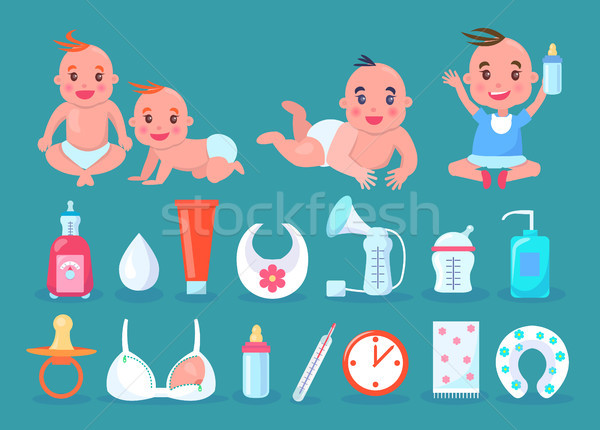 Children in Diapers and Bottle Vector Illustration Stock photo © robuart