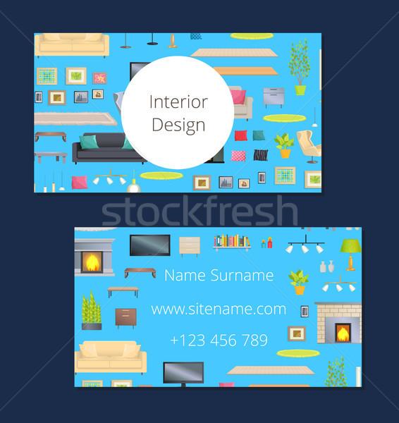 Belsőépítészet kártya kék hív szín főcím Stock fotó © robuart