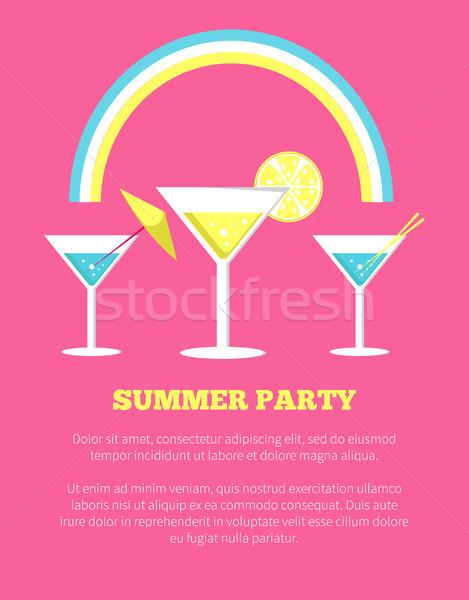 été fête affiche martini verres vecteur Photo stock © robuart