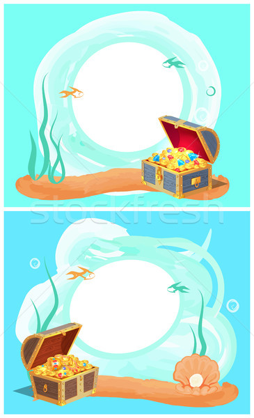 Photo Frames with Sea Bottom and Hidden Treasures Stock photo © robuart