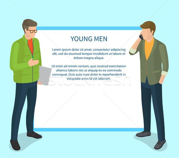 Giovani uomini isolato azzurro illustrazione bianco piazza Foto d'archivio © robuart