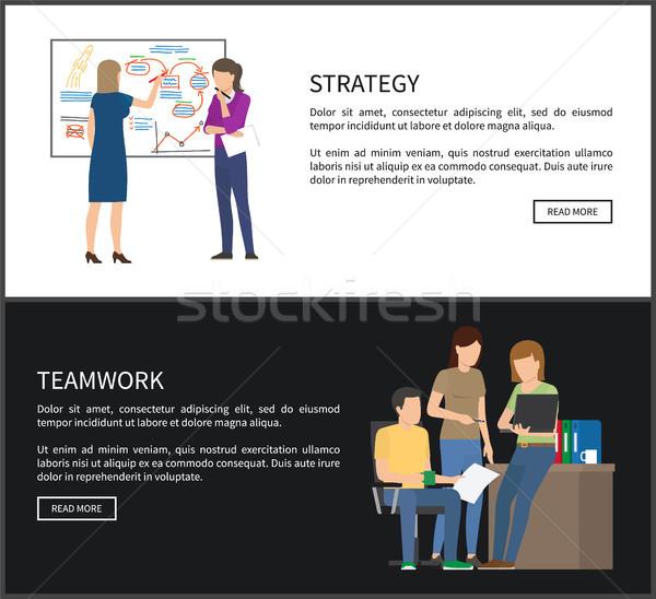 Strategy and Teamwork Set Vector Illustration Stock photo © robuart