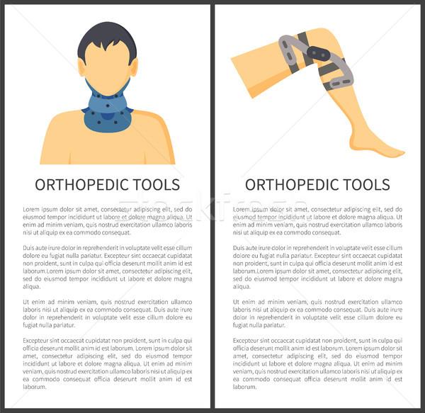 Ortopédico ferramentas pôsteres pescoço joelho proteção Foto stock © robuart