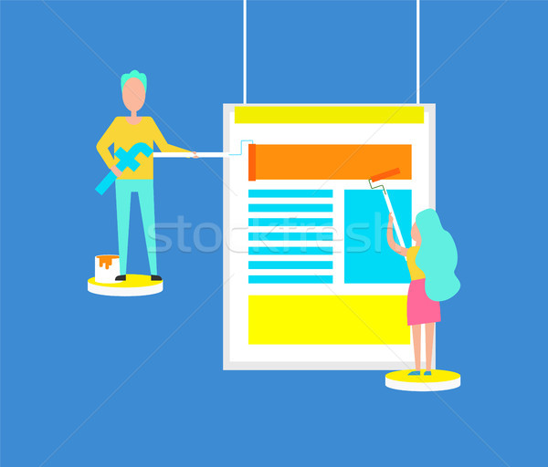 People Creating Website Post Vector Illustration Stock photo © robuart