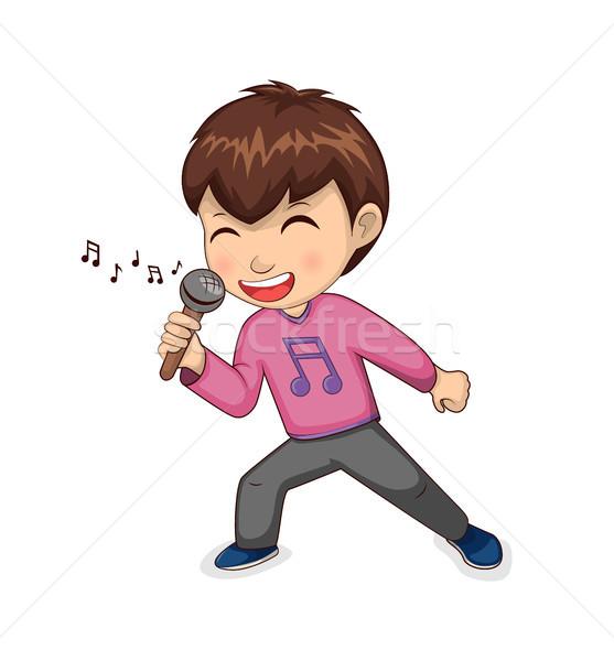 Menino cantando alegremente criança Foto stock © robuart