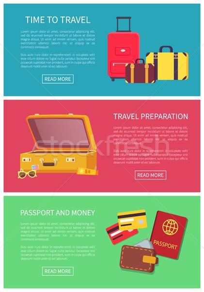 Tijd reizen voorbereiding geld paspoort kleurrijk Stockfoto © robuart