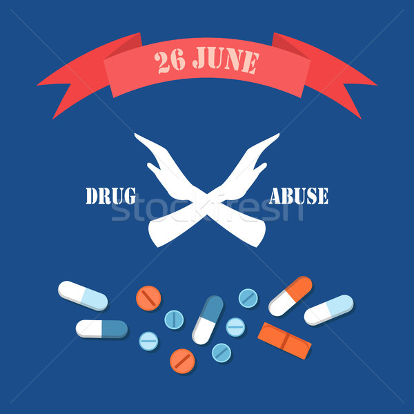 Drug Abuse 26 June Poster Vector Illustration Stock photo © robuart