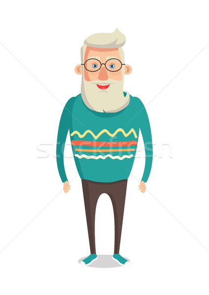 Male Character Gray Hair Beard Smiling Man Vector Stock photo © robuart
