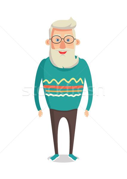 Mężczyzna charakter siwe włosy broda uśmiechnięty człowiek Zdjęcia stock © robuart