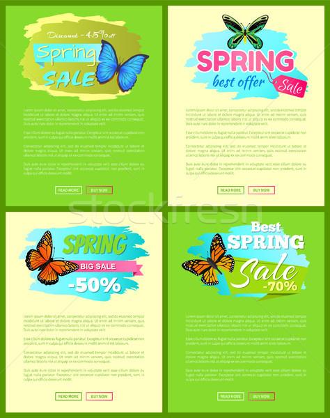 Ayarlamak afişler satış bahar teklif etiketler Stok fotoğraf © robuart