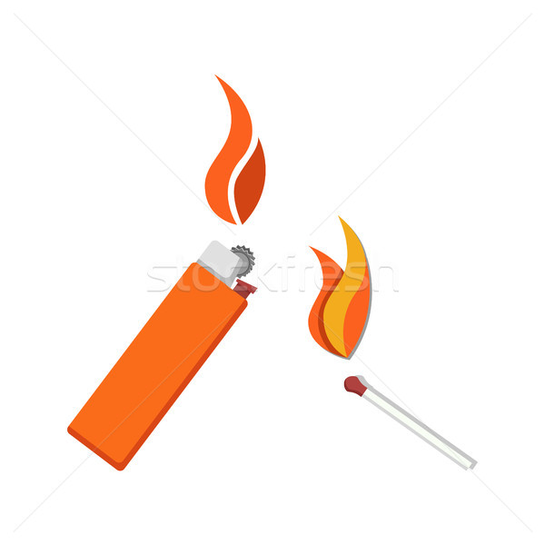 сжигание легче матча икона изолированный белый Сток-фото © robuart