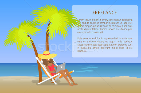 Freelance Poster with Cheerful Woman Distant Work Stock photo © robuart