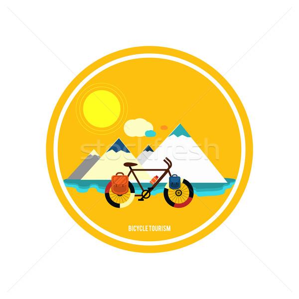 Bicycle near the mountain. Bicycle tourism. Stock photo © robuart