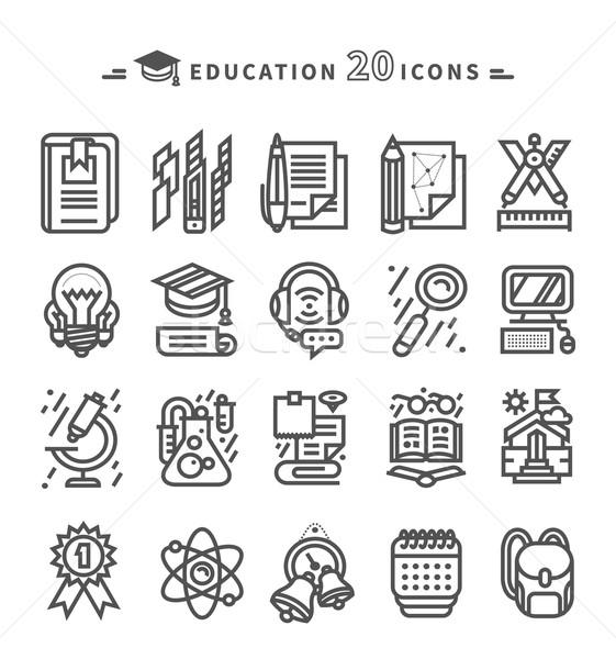 Stock fotó: Szett · fekete · oktatás · ikonok · fehér · vékony