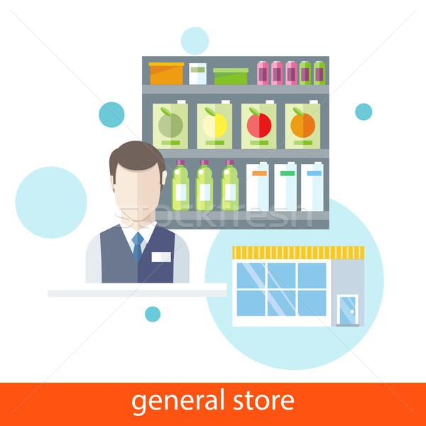 Comida geral armazenar supermercado vendedor projeto Foto stock © robuart