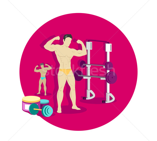 Bodybuilding sport icon ontwerp fitness gymnasium Stockfoto © robuart