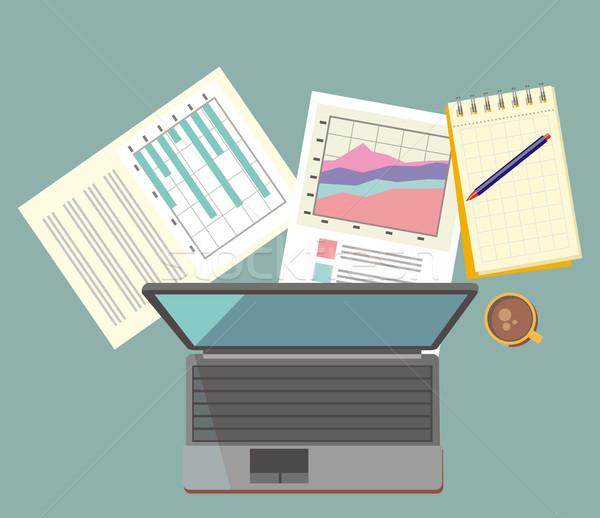 Trabajo mesa documento portátil diseno lugar de trabajo Foto stock © robuart