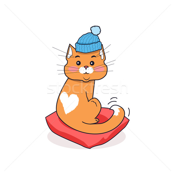 Cat in Hat Isolated Design Flat  Stock photo © robuart