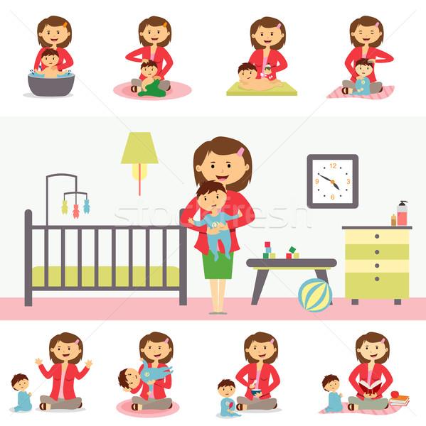 Maternidad ilustración diseno familia vector Foto stock © robuart