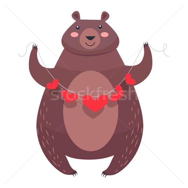 Valentine Teddy Bear with Necklace of Hearts Vector Stock photo © robuart