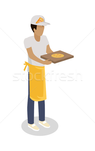 Pizza Seller with Fresh Cooked Pizza Isolated. Stock photo © robuart