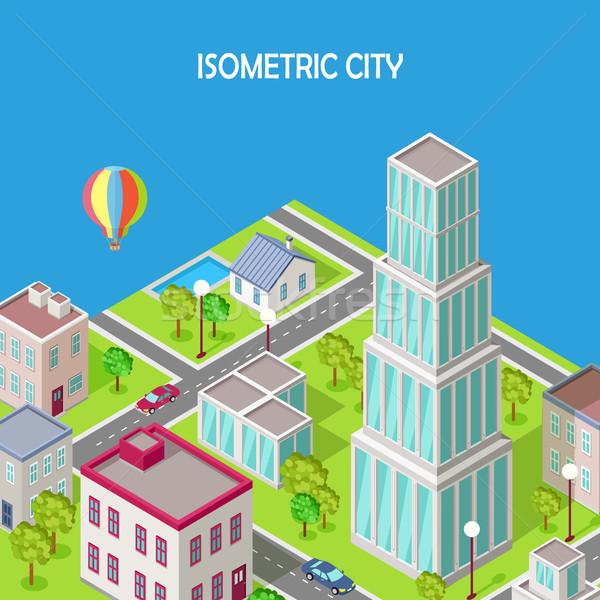 Izometrikus város modern építészet felhőkarcoló vektor ikon Stock fotó © robuart