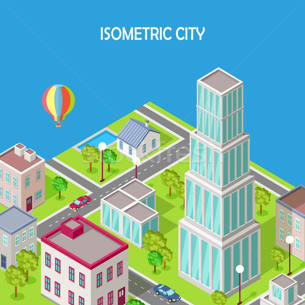 Isometric City. Modern Architecture Skyscraper Stock photo © robuart