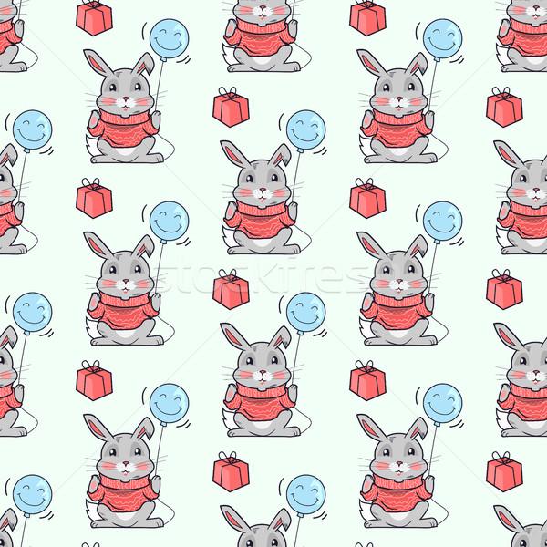 Vicces nyulak végtelen minta vektor terv nyúl Stock fotó © robuart