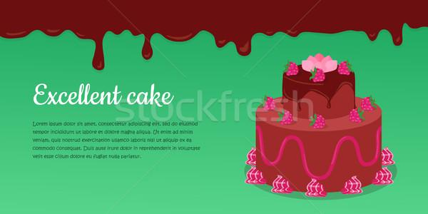 Finom torta kitűnő eper pite terv Stock fotó © robuart
