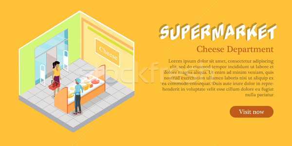 Supermercado queso departamento web banner Foto stock © robuart