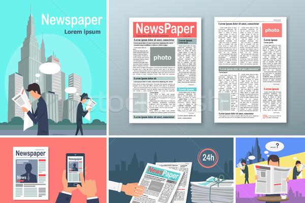 Gazeteler haber 24 afişler ayarlamak insanlar Stok fotoğraf © robuart